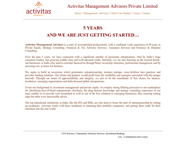 Activitas Management Advisors