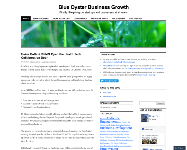 Blue Oyster Business Growth