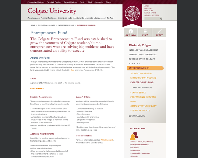 Colgate's Entrepreneurs of New York Fund