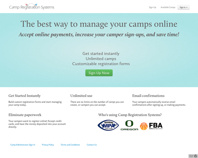 Camp Registration Systems