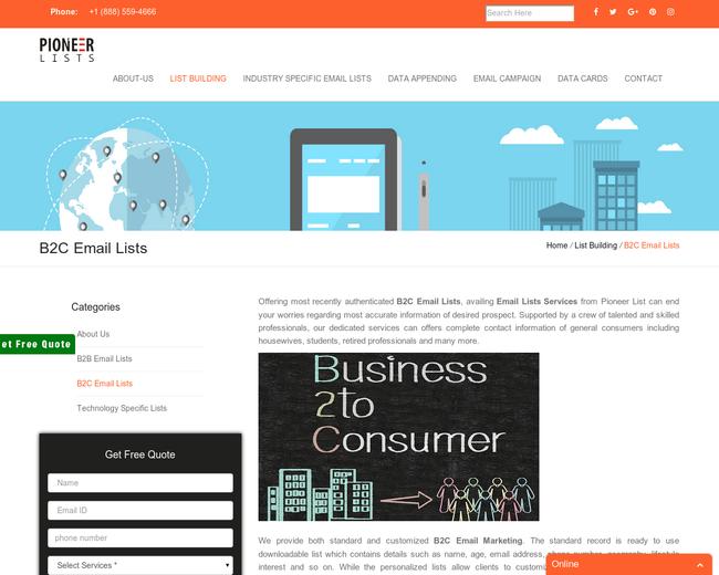 B2C Email Lists   B2C Mailing Lists   Pioneer Lists