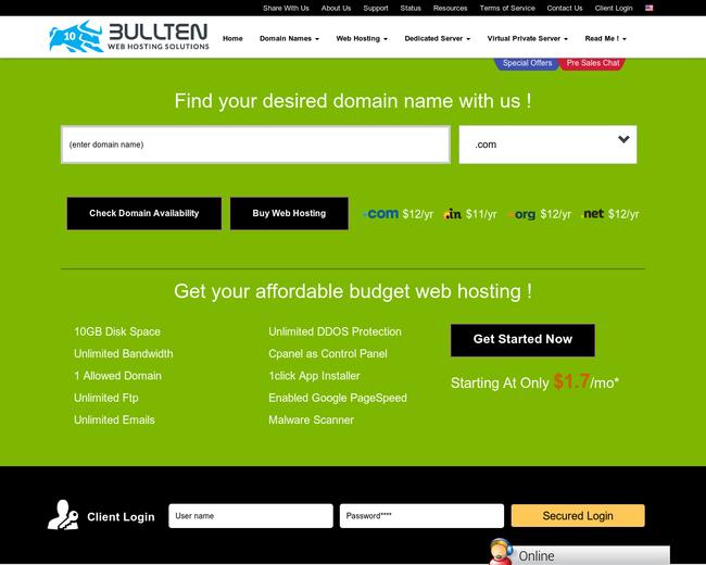 Bullten Web Hosting Soltutions