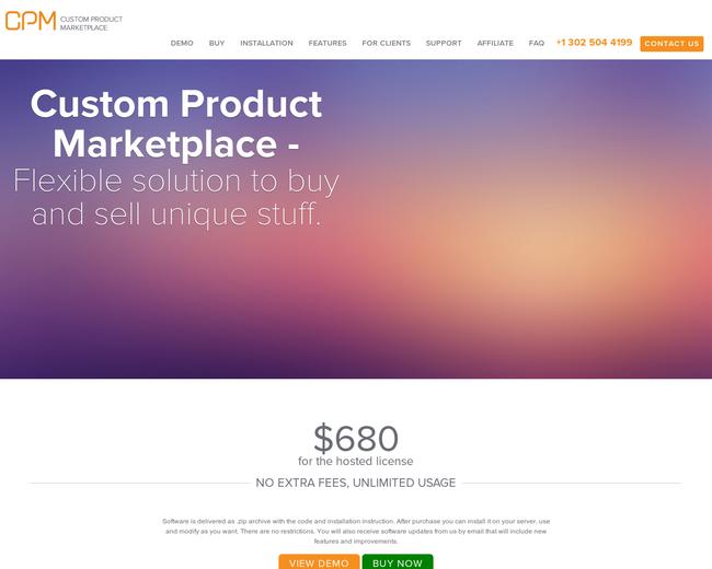 Custom Product Marketplace Script
