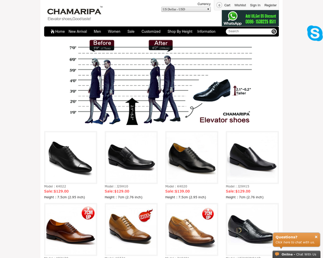 Chamaripa elevator shoes online store