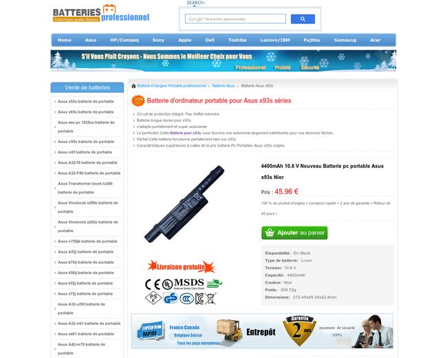 Batterie Asus x93s batterieprofessionnel