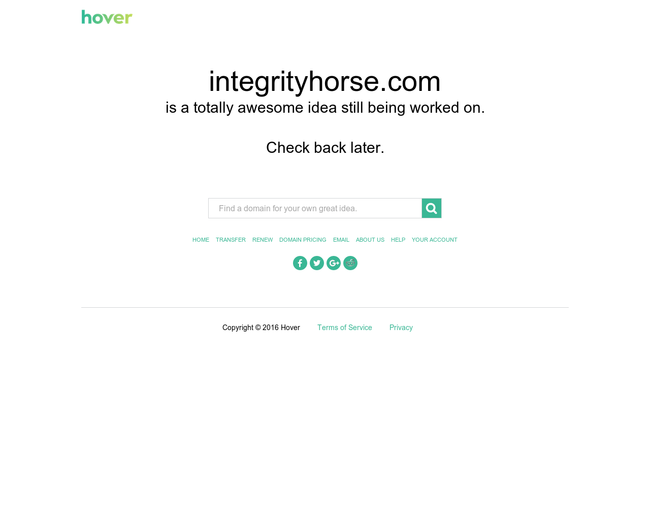 INTEGRITY HORSE