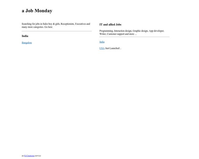 a Job Monday